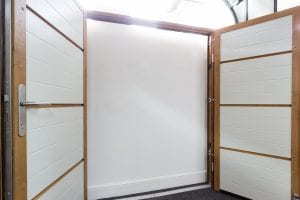 white double garage doors