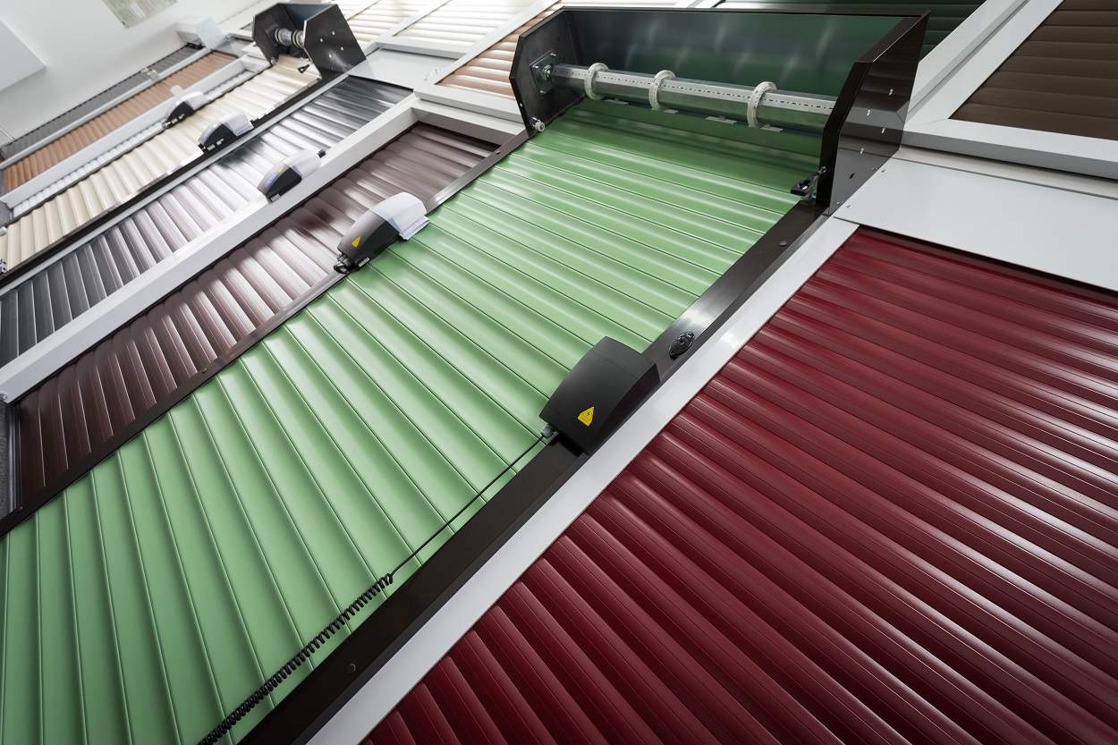 close up of coloured roller shutters