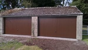 brown double up and over garage doors