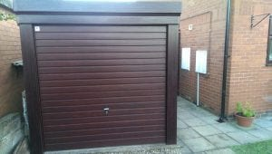 brown up and over garage door
