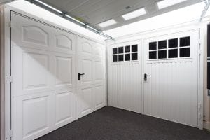 white panelled garage door and white glazed garage door