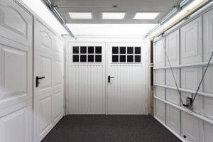 white panelled garage doors and white glazed garage door