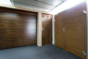 brown panelled garage door, single brown door and double brown garage doors