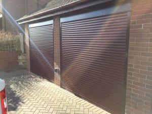 brown electric roller garage doors