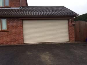 cream electric roller garage door