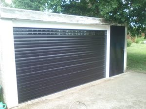 black electric roller garage door