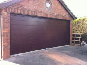 brown sectional double garage door