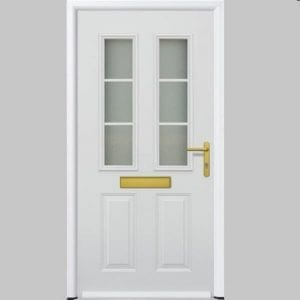 White ThermoPro door with gold handle and letter box.