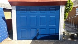 blue up and over garage door
